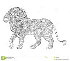 coloring page for antistress with lion stock vector image