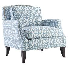 Accent Armchair Furniture Blue Upholstered Accent Chair With Wooden Flared Leg