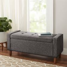 storage bench better homes and gardens flynn mid century modern upholstered