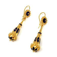 royal blue earrings antique etruscan 14k yellow gold royal blue enamel dormeuse drop