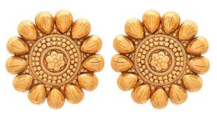 designer stud earrings jfl traditional ethnic one gram gold plated designer stud