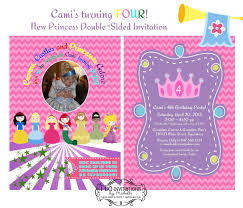 cami u0027s 4th birthday party invitation disney princess inspired