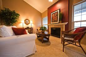 accent walls add drama and warmth caramel color living room