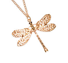 rose tone necklace images Dragonfly pendant rose gold tone necklace long chain desiflo jpg