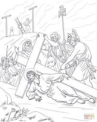 ninth station jesus falls the third time coloring page free