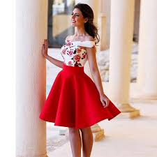 couture 2016 red cocktail dresses floral patterns cap sleeve short