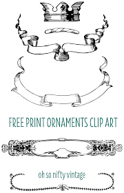 Vintage Ornaments by Vintage Clip Art U2013 Print Ornaments With Crown Ribbons And Borders