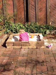 Sandboxes With Canopy And Cover by Diy Sandbox With Some Old Bricks Used Landscape Fabric On The