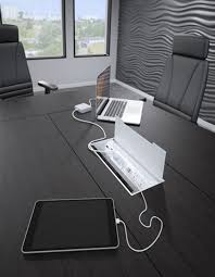 White Gloss Meeting Table Interface G2 Conference Table Power Data Access