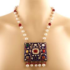 coloured pearl necklace images Multi coloured gemstone jadau necklace by india jewels in 10kt jpg