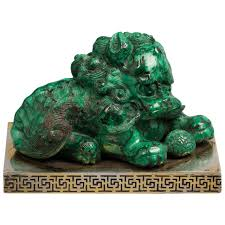 foo dog for sale silver mounted malachite foo dog circa 1800 for sale at