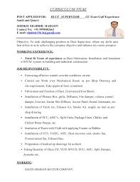 Mechanical Foreman Resume Latest Hvac Supervisor