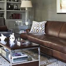 pillow arm leather sofa brown sloped arm leather chair