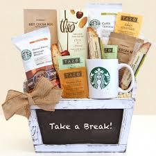 coffee baskets take a starbucks gift basket aa gifts baskets