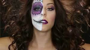 Half Skull Halloween Makeup by Half Sugar Skull Half Halloween Glam Youtube