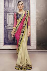 color designer stylish cream and pink color designer party wear saree with