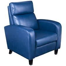 blue leather recliner armchair southern enterprises benton faux