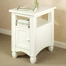 white end table with storage side table with door black painted metal rectangle clear also small