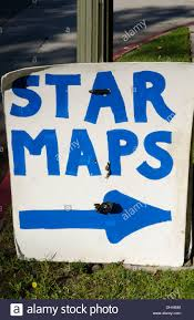 hollywood california ca with star maps sign for tourists to see