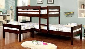 Corner Triple Twin Bunk Bed In Espresso Bunk Bed For - Furniture of america bunk beds