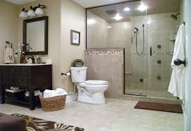 vintage small bathroom ideas come with gray granite wall and brown