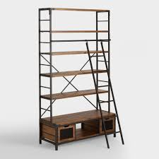 Rolling Ladder Bookcase by Wood And Metal Bookcase With Ladder World Market