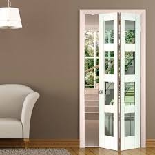 Interior Folding Glass Doors Cayman White Primed Bifold Door Clear Safety Glass Safety