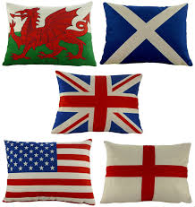 British Flag Pillow England St George Cross Flag Quality Chenille Cushion With Zipped