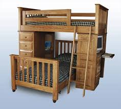 amish youth mission loft bed and twin bed two in one plus a desk