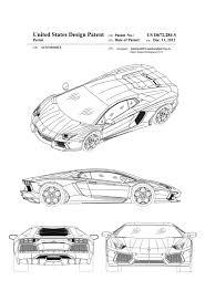 lamborghini gallardo blueprint lamborghini patent patent print wall decor automobile decor