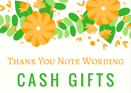 Words For Wedding Thank You Cards Money Cash Gift Thank You Notes Free Wording Examples