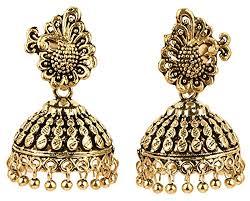 jhumki style earrings aelo antique black metal peacock style oxidised german golden