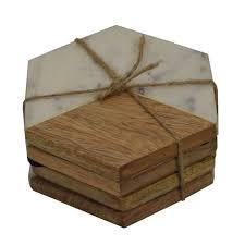 hometrends wood and marble coaster set walmart canada