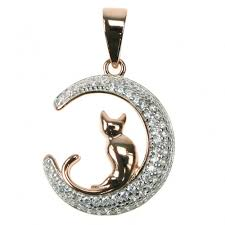 sterling silver gold cat on the moon pendant astral aspects