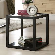 roundhill furniture glass and metal cube coffee table thippo