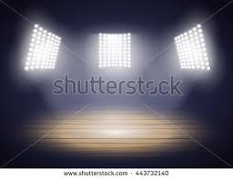 Arena Lights Stadium Lights Three Spotlights On Basketball Stock Vector