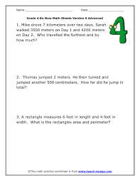 4th grade math problems worksheets free worksheets library