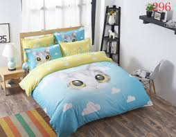 cartoon cloud cat twin full queen polyester 3 4pcs bedding set