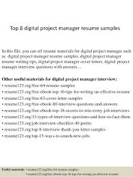 Pmp Resume Samples by Top 8 Digital Project Manager Resume Samples 1 638 Jpg Cb U003d1428492457