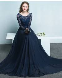 length long lace sleeves navy blue prom dress