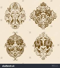 set vector damask ornaments floral elements stock vector 97931234