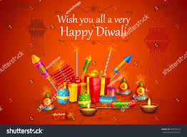 Diwali Invitation Cards For Party Vector Illustration Colorful Fire Cracker Decorated Stock Vector