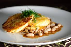 cuisine polenta crisp polenta cakes with braised cabbage and beans recipe