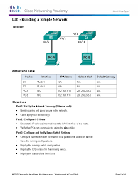 cisco lab building a simple network with answers ip address