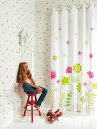 Pink And White Curtains For Nursery Nursery For White Curtains With Flower Pattern Children