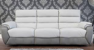 Full Leather Reclining Sofa Set Grey - Ricardo leather reclining sofa