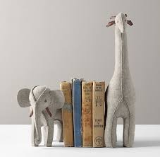 personalized bookends baby felt animal bookends grey elephant giraffe