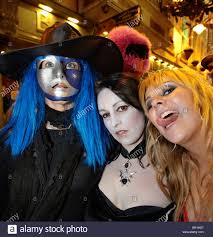 party people in scary halloween masks dublin ireland europe stock