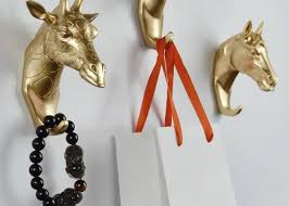 Decorative Wall Hooks For Hanging Rural Style Fashion Resin Gold Animal Head Clothes Hanging Coat