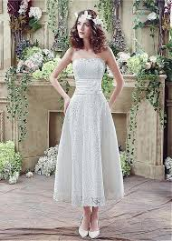 tea length wedding dresses buy discount in stock lace strapless a line tea length wedding